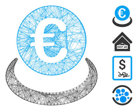 Vector network Euro deposit. Geometric hatched frame 2D network made from Euro deposit icon, designed from crossed lines. Some bonus icons are added.
