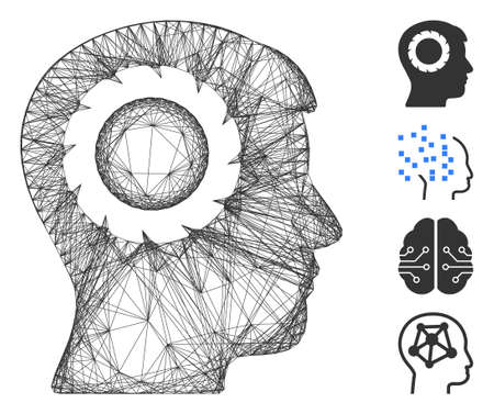 Vector net human memory wheel. Geometric linear frame 2D net made from human memory wheel icon, designed from crossed lines. Some bonus icons are added. Ilustrace