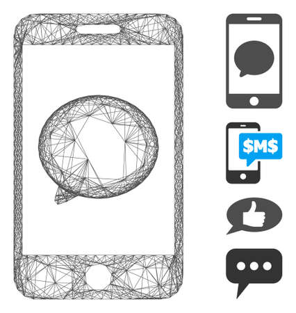 Vector wire frame smartphone chat message. Geometric hatched frame 2D net generated with smartphone chat message icon, designed with crossing lines. Some bonus icons are added.