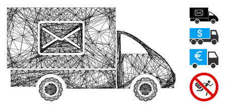 Vector wire frame mail delivery car. Geometric wire carcass 2D net made from mail delivery car icon, designed with crossed lines. Some bonus icons are added.