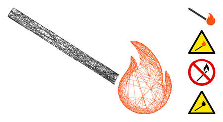 Vector wire frame match fire. Geometric linear frame flat net made from match fire icon, designed from crossed lines. Some bonus icons are added.