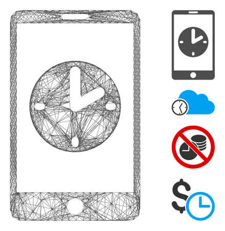 Vector net mobile time. Geometric wire frame 2D net made from mobile time icon, designed from crossed lines. Some bonus icons are added.