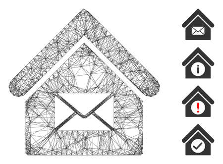 Vector network post office. Geometric wire carcass 2D network generated with post office icon, designed with crossed lines. Some bonus icons are added.