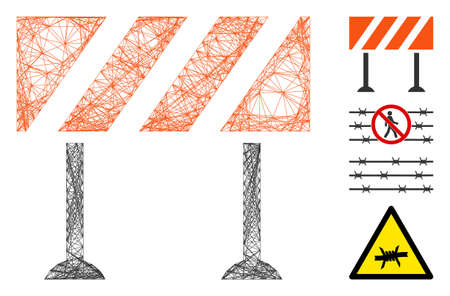 Vector net barrier. Geometric wire carcass flat net made from barrier icon, designed from crossing lines. Some bonus icons are added.