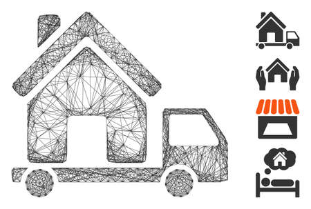 Vector wire frame mobile house. Geometric wire frame flat network made from mobile house icon, designed from crossing lines. Some bonus icons are added.