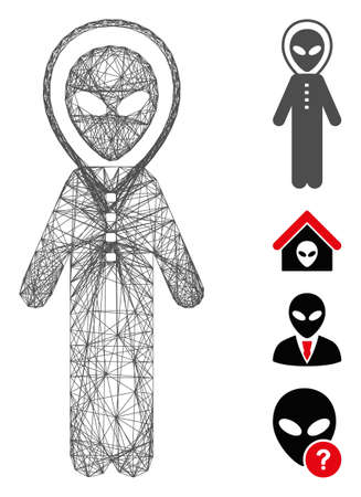 Vector wire frame alien space armor. Geometric hatched frame flat network made from alien space armor icon, designed with crossed lines. Some bonus icons are added. Vecteurs