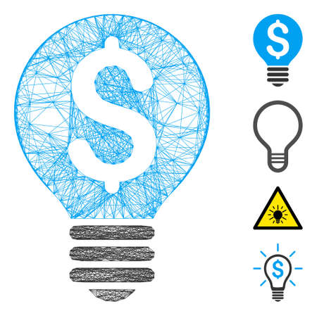 Vector wire frame business patent bulb. Geometric hatched frame flat net made from business patent bulb icon, designed from crossing lines. Some bonus icons are added. Ilustrace