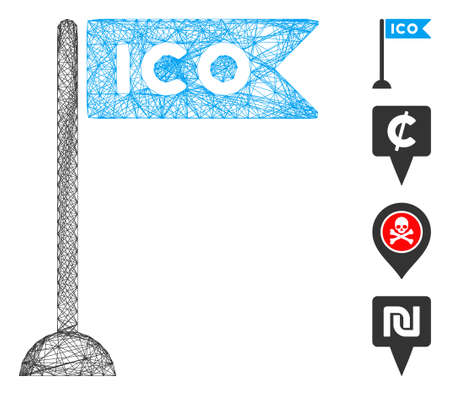 Vector wire frame ICO flag marker. Geometric linear frame 2D network made from ICO flag marker icon, designed from crossing lines. Some bonus icons are added.