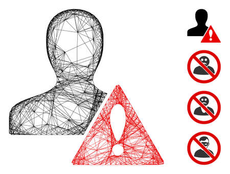Vector wire frame user risk management. Geometric wire carcass 2D net generated with user risk management icon, designed with crossed lines. Some bonus icons are added.