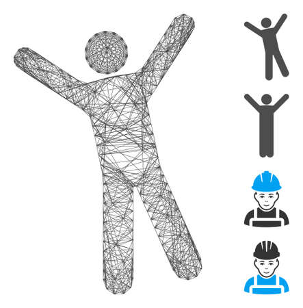 Vector network man joy. Geometric hatched frame flat network made from man joy icon, designed from crossed lines. Some bonus icons are added.
