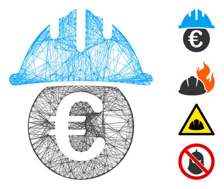 Vector net Euro under safety helmet. Geometric wire frame flat net made from Euro under safety helmet icon, designed from crossing lines. Some bonus icons are added.