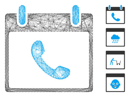Vector wire frame phone calendar day. Geometric wire frame 2D network made from phone calendar day icon, designed from crossed lines. Some bonus icons are added.