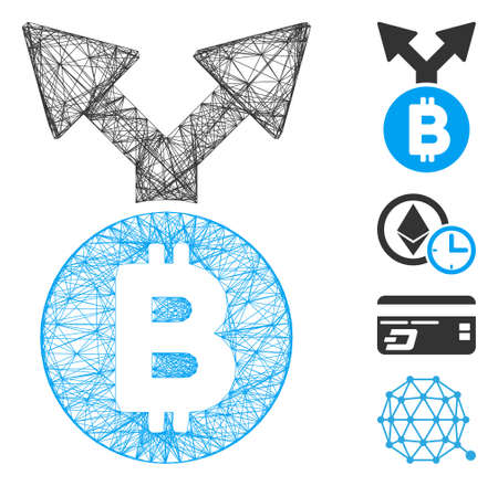 Vector network Bitcoin fork. Geometric hatched frame 2D network generated with Bitcoin fork icon, designed with intersected lines. Some bonus icons are added.