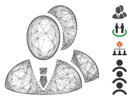 Vector network managers. Geometric hatched carcass flat network made from managers icon, designed from crossed lines. Some bonus icons are added.