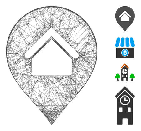Vector net residence marker. Geometric linear carcass 2D net generated with residence marker icon, designed with crossed lines. Some bonus icons are added.