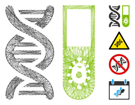 Vector wire frame hitech microbiology. Geometric wire frame flat net generated with hitech microbiology icon, designed with intersected lines. Some bonus icons are added.