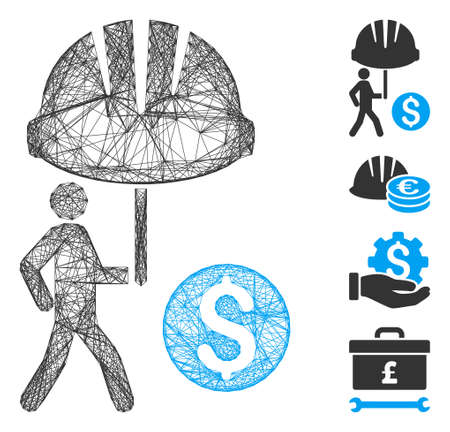 Vector wire frame industrial financial coverage. Geometric wire carcass flat network made from industrial financial coverage icon, designed with crossed lines. Some bonus icons are added.