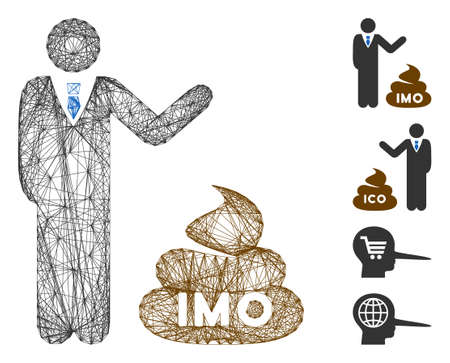 Vector wire frame businessman show IMO shit. Geometric wire frame flat network made from businessman show IMO shit icon, designed from crossed lines. Some bonus icons are added. Vektorové ilustrace