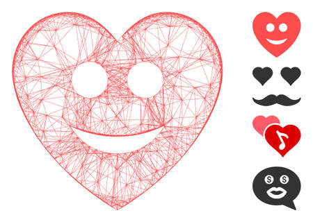 Vector net happy love heart. Geometric hatched frame flat net made from happy love heart icon, designed from crossing lines. Some bonus icons are added.