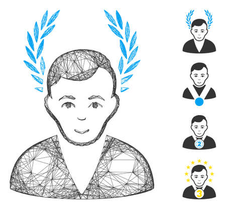Vector wire frame man glory. Geometric wire frame flat network generated with man glory icon, designed from intersected lines. Some bonus icons are added. 矢量图像