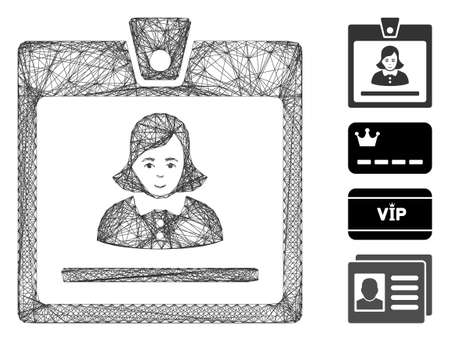 Vector wire frame woman badge. Geometric linear frame 2D network made from woman badge icon, designed from crossing lines. Some bonus icons are added.