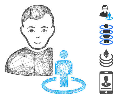 Vector net portal moderator. Geometric hatched carcass 2D net made from portal moderator icon, designed from crossed lines. Some bonus icons are added.