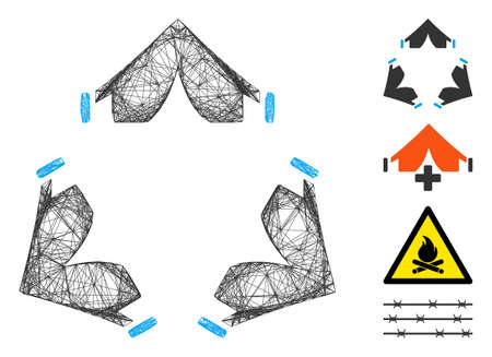 Vector net tent camp. Geometric wire frame flat net generated with tent camp icon, designed with crossing lines. Some bonus icons are added.