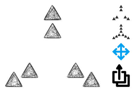 Vector wire frame move out triangles. Geometric wire frame 2D net based on move out triangles icon, designed from intersected lines. Some bonus icons are added.
