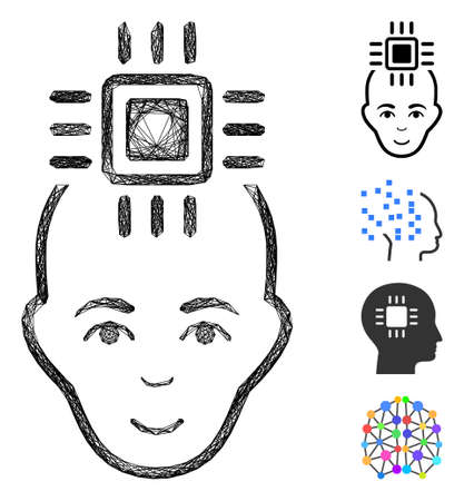 Vector net neural computer interface. Geometric hatched carcass flat net made from neural computer interface icon, designed from intersected lines. Some bonus icons are added.