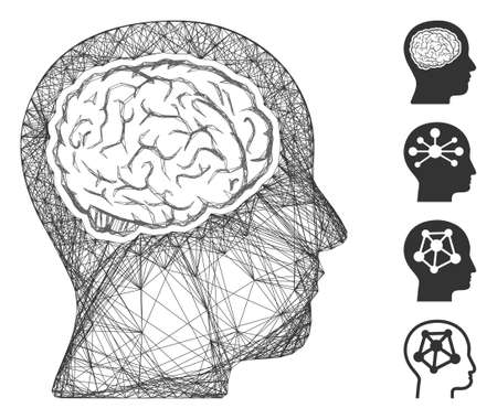 Vector wire frame head brain. Geometric linear frame flat net generated with head brain icon, designed with crossed lines. Some bonus icons are added.