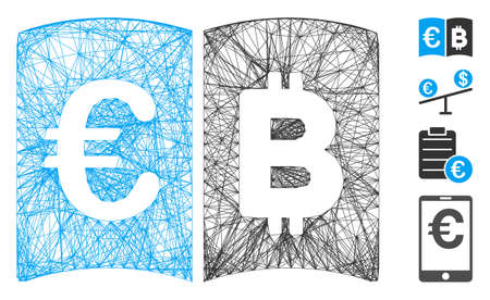 Vector wire frame Euro and Bitcoin catalog. Geometric wire frame flat net generated with Euro and Bitcoin catalog icon, designed with intersected lines. Some bonus icons are added.