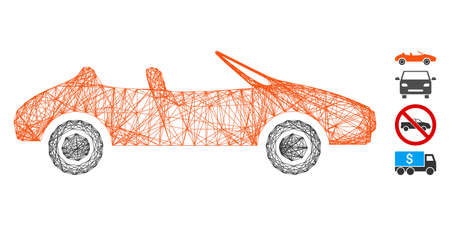 Vector wire frame cabriolet. Geometric wire frame 2D network based on cabriolet icon, designed from crossing lines. Some bonus icons are added. Ilustração