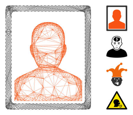 Vector net patient portrait. Geometric hatched frame 2D net made from patient portrait icon, designed from intersected lines. Some bonus icons are added.