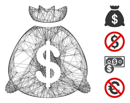 Vector wire frame money bag. Geometric wire carcass 2D network made from money bag icon, designed from crossed lines. Some bonus icons are added. Ilustração