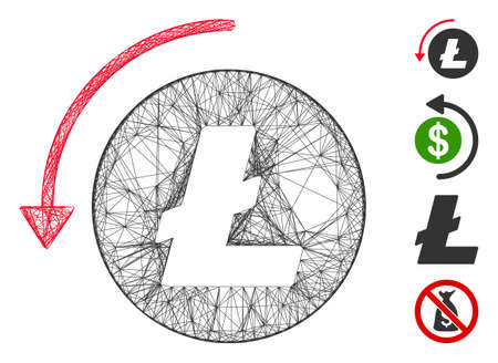 Vector network refund Litecoin. Geometric hatched carcass 2D network made from refund Litecoin icon, designed from crossed lines. Some bonus icons are added.