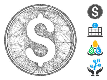 Vector network dollar coin. Geometric linear carcass flat network generated with dollar coin icon, designed with crossed lines. Some bonus icons are added. Ilustração