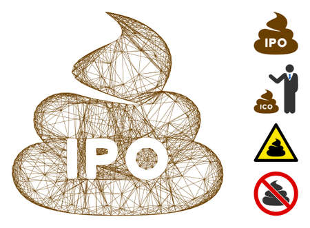 Vector net IPO shit. Geometric wire carcass flat net made from IPO shit icon, designed from crossed lines. Some bonus icons are added.