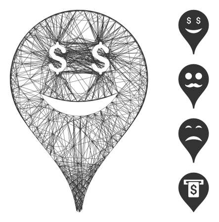 Vector net business smiley map marker. Geometric linear carcass flat net generated with business smiley map marker icon, designed with crossed lines. Some bonus icons are added.