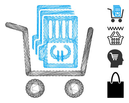 Vector network Euro cash out cart. Geometric wire frame flat network generated with Euro cash out cart icon, designed with crossing lines. Some bonus icons are added. Ilustração