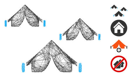 Vector wire frame tent camp. Geometric wire frame flat network made from tent camp icon, designed with crossing lines. Some bonus icons are added. Vektorgrafik