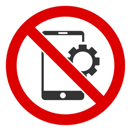 No Smartphone Options icon. Illustration style is a flat iconic symbol inside red crossed circle on a white background. Simple No Smartphone Options raster sign, designed for rules, restrictions,