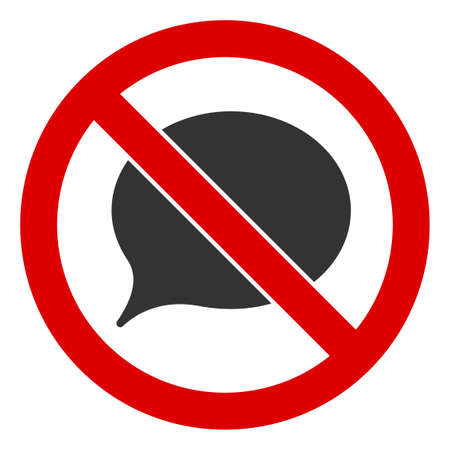 No Message Cloud icon. Illustration style is a flat iconic symbol inside red crossed circle on a white background. Simple No Message Cloud raster sign, designed for rules, restrictions, regulations,