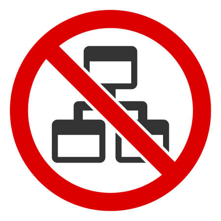 No Computer Network icon. Illustration style is a flat iconic symbol inside red crossed circle on a white background. Simple No Computer Network raster sign, designed for rules, restrictions,