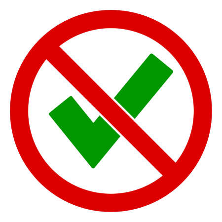 No Accept icon. Illustration style is a flat iconic symbol inside red crossed circle on a white background. Simple No Accept raster sign, designed for rules, restrictions, regulations, Banque d'images