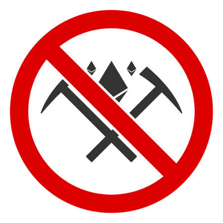 No Ethereum Mining icon. Illustration style is a flat iconic symbol inside red crossed circle on a white background. Simple No Ethereum Mining raster sign, designed for rules, restrictions,