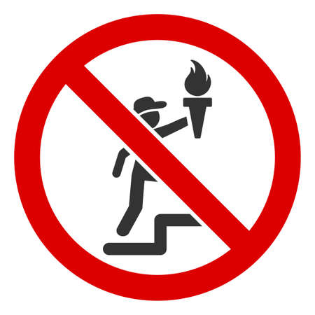 No Freedom Torch V2 icon. Illustration style is a flat iconic symbol inside red crossed circle on a white background. Simple No Freedom Torch V2 raster sign, designed for rules, restrictions,