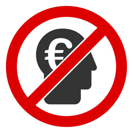No Euro Banker icon. Illustration style is a flat iconic symbol inside red crossed circle on a white background. Simple No Euro Banker raster sign, designed for rules, restrictions, regulations,