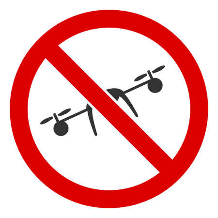 No Airdrone icon. Illustration style is a flat iconic symbol inside red crossed circle on a white background. Simple No Airdrone raster sign, designed for rules, restrictions, regulations, 版權商用圖片