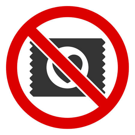 No Lovely Condom icon. Illustration style is a flat iconic symbol inside red crossed circle on a white background. Simple No Lovely Condom raster sign, designed for rules, restrictions, regulations,