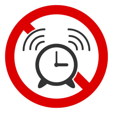 No Alarm Clock icon. Illustration style is a flat iconic symbol inside red crossed circle on a white background. Simple No Alarm Clock raster sign, designed for rules, restrictions, regulations,